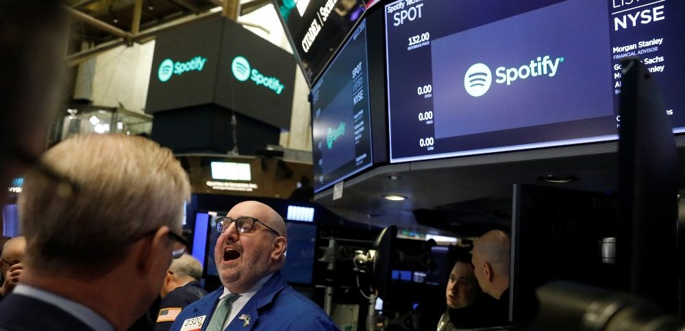 A price update is given on shares of Spotify before the companys direct listing on the floor of the New York Stock Exchange in New York