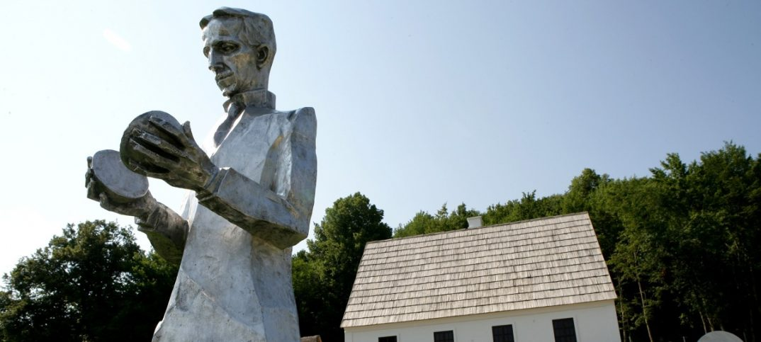 Image: Monument of Croatian Serb scientist Nikola Tesla stands in front of his renovated house in Smiljan, central Croatia. POWER/ACDC REUTERS/Matko Biljak.