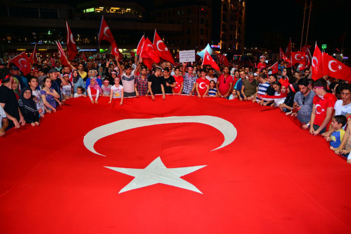 Turkish People Around Their Flag