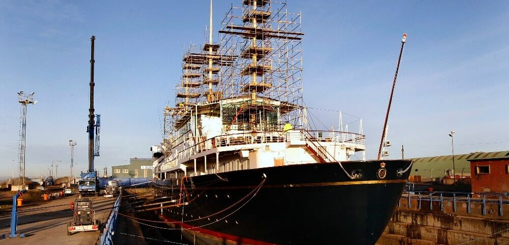 The Royal Yacht Britannia is seen as it sits in a dry dock at Forth Ports in Edinburgh