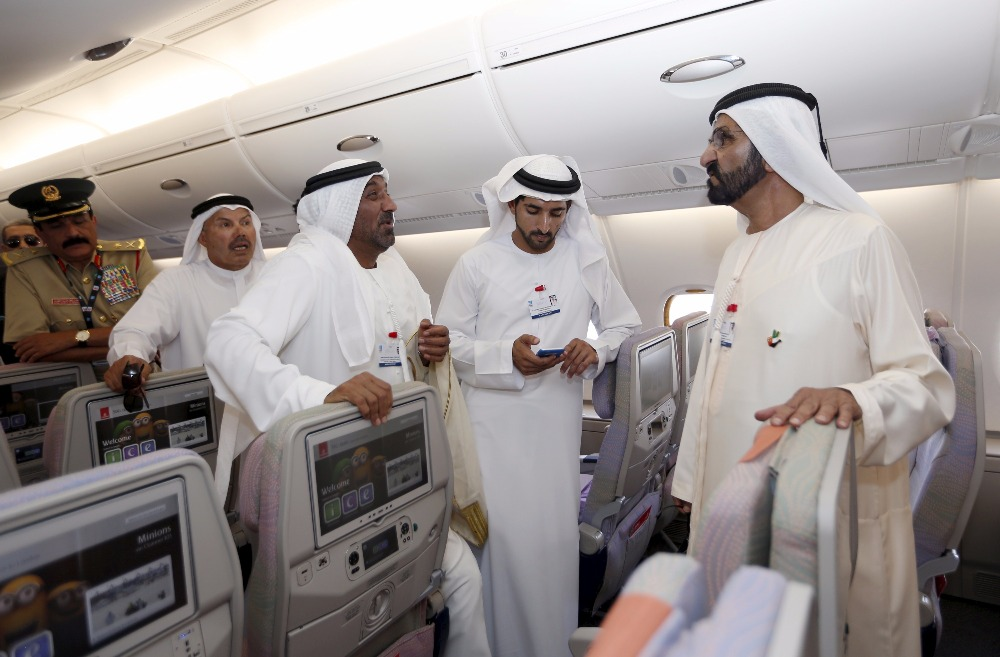 United Arab Emirates Vice President Prime Minister and Dubai Ruler Sheikh Mohammed bin Rashid al-Maktoum during their tour of the Airbus