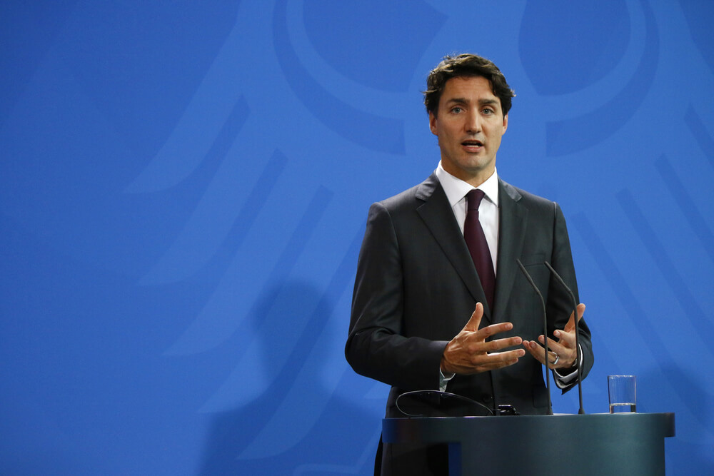 Canadian Prime Minister Justin Trudeau at a press conference