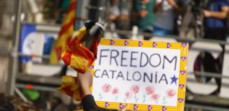 Riots of catalan people protesting for spanish government decision about referendum of independence of catalunya
