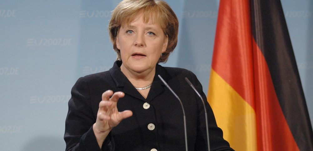 German Chancellor Angela Merkel at a press conference after a meeting with the British Prime Minister in the Chanclery in Berlin
