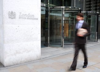 busines man outside the London stock exchange