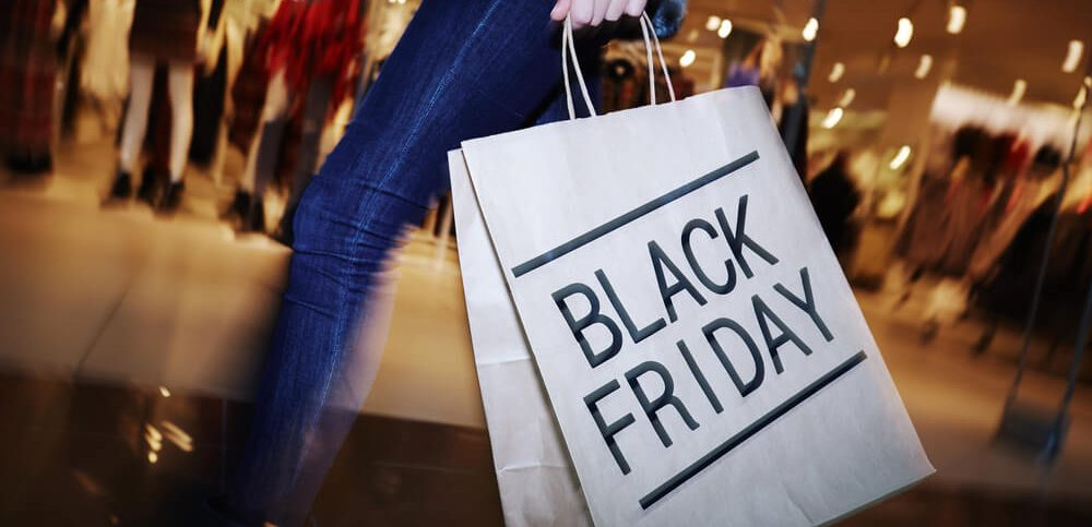 shopping woman holding bag on Black Friday shopping