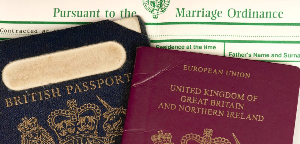 British marriage certificate, old British passport and new British European passport