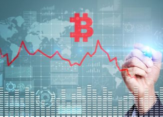 Cryptocurrency crisis on virtual screen. Bitcoin and Ethereum falls