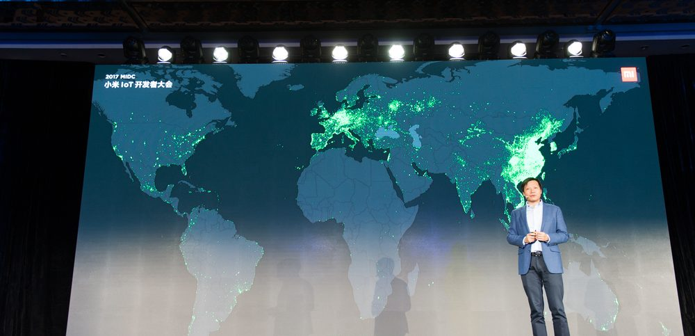 Lei Jun, founder, chairman and CEO of Xiaomi Inc speeches in front map of the world. Xiaomi's IOT(Internet of things) developer conference on November 28, 2017.