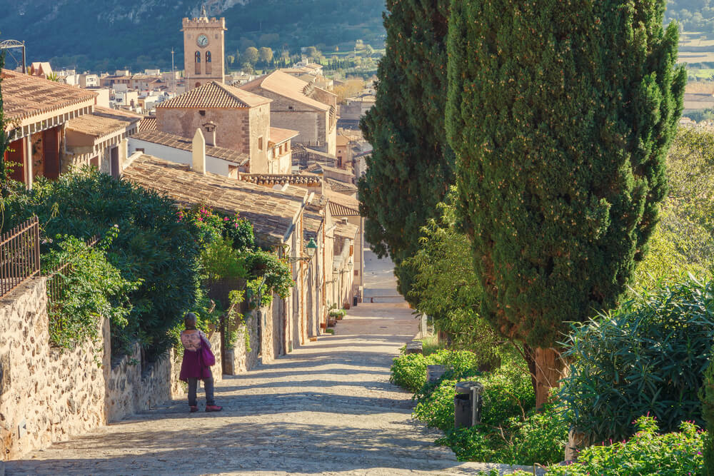 Long stairway along the Via Crucis, with more than three hundred stairs to the church of Calvary, Pollenca, Mallorca, Balearic Islands, Spain