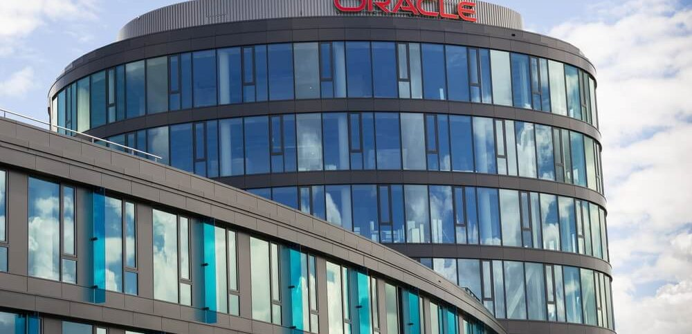 Oracle corporation logo on the building of czech headquarters