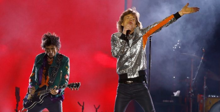 Ron Wood and Mick Jagger of the Rolling Stones perform during the bands first concert of the No Fi