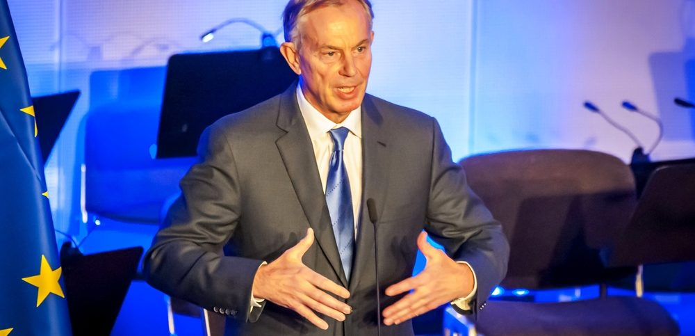 Tony Blair of Great Britain, speaking in the European Parliament. He is a former British Prime Minister and Special Envoy of the Quartet on the Middle East.