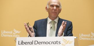 Vince Cable speaks after being named as the new leader of Britains Liberal Democrat Party in London