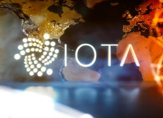 What Is IOTA - the crypto name and logo on the world illustartion