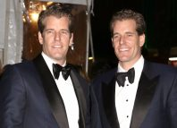 ameron Winklevoss and Tyler Winklevoss attend the amfAR Gala at Cipriani Wall Street