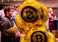 Bitcoin themed balloons float in during Inside Bitcoins The Future of Virtual Currency Conference in New York