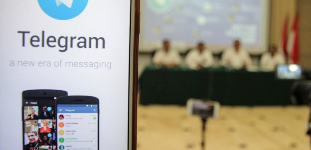 encrypted messaging service Telegram is seen during a news conference last July