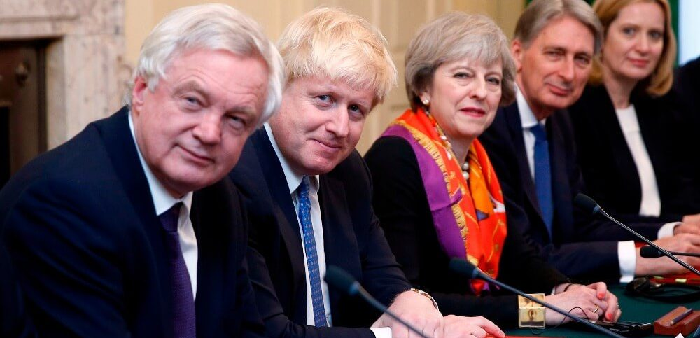 Britains Prime Minister May and cabinet colleagues