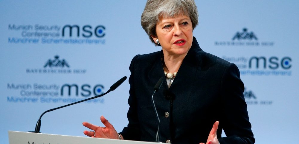 Britains Prime Minister May talks at the Munich Security Conference in Munich