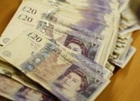 British Pound Sterling banknotes are seen at the Money Service Austria companys headquarters in Vienna