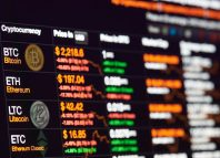 Bitcoin-exchange-to-dollar-rate-on-monitor-display.-Cryptocurrency-invest-chart-1