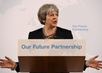 Britains Prime Minister Theresa May delivers a speech about her vision for Brexit at Mansion House in London