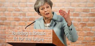 Britain's Prime Minister Theresa May makes a speech London