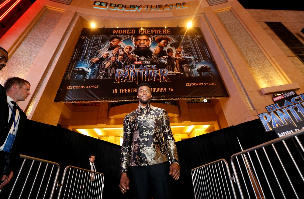 Cast member Boseman poses at the premiere of Black Panther in Los Angeles