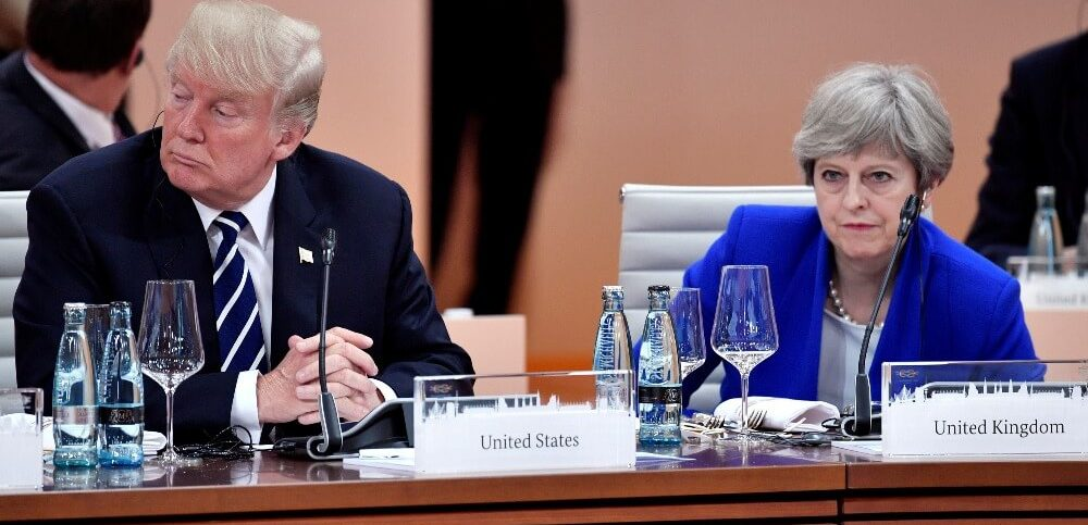 Donald Trump and Theresa May attending the G-20 summit in Hamburg