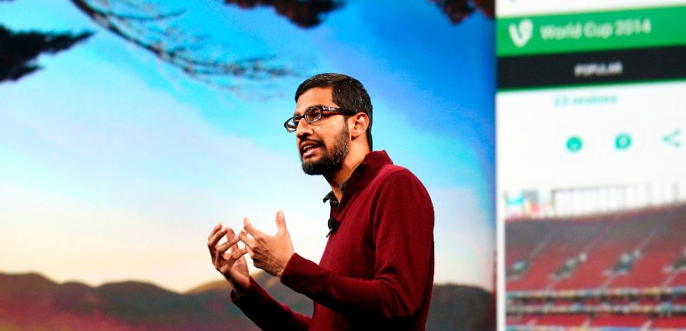 Google CEO Pichai speaks during his keynote address at the Google IO developers conference in San Francisco