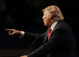 Republican presidential candidate Donald Trump speaks at campaign event at Westgate Las Vegas Resort & Casino the day before the CNN Republican Presidential Debate