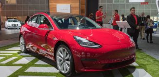 Tesla Model 3 on display during LA Auto Show at the Los Angeles Convention Center