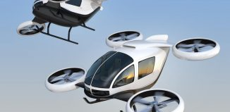 Two self-driving passenger drones flying in the sky. 3D rendering image