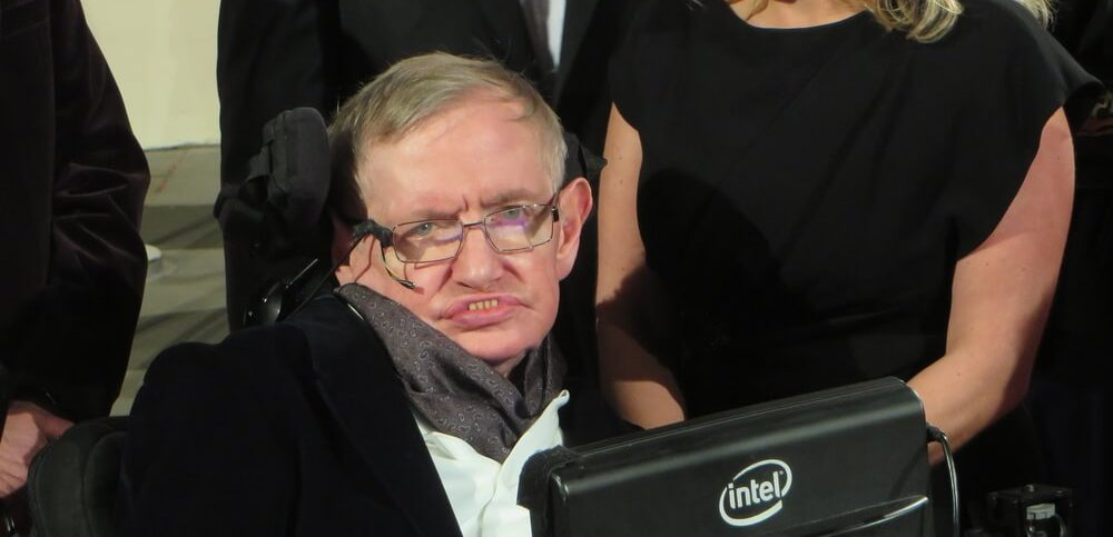 theoretical physicist Professor Stephen Hawking arrives at the 2015 BAFTA film awards ceremony in London.
