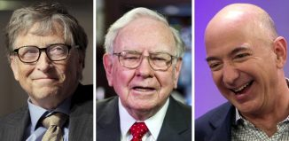 A combination photo of Bill Gates Warren Buffett and Jeff Bezos