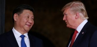 President Donald Trump welcomes Chinese President Xi Jinping at Mar-a-Lago state in Palm Beach Florida US