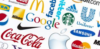 A logotype collection of well-known world brand's printed on paper. Include Google, McDonald's, Nike, Coca-Cola, Facebook, Apple and more others logo.