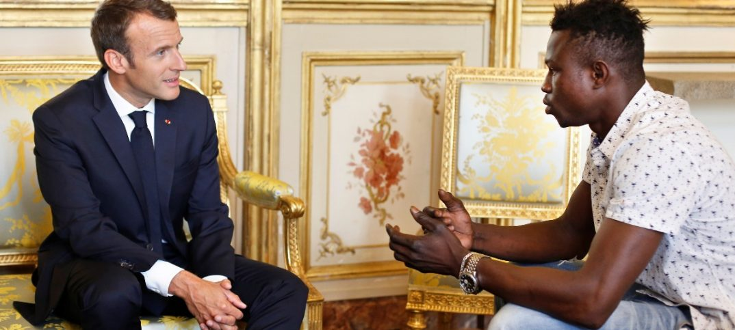 French President Emmanuel Macron meets with Mamoudou Gassama 22 from Mali at the Elysee Palace in Paris.