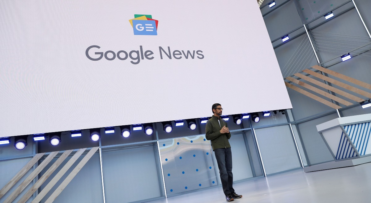 Google CEO Sundar Pichai speaks on stage during the annual Google IO developers conference.