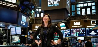 NYSE Chief Operating Officer Stacey Cunningham, who will be the New York Stock Exchange's (NYSE) first female president, poses on the floor of the NYSE in New York