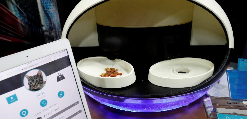 The Catspad smart pet assistant with the ability to remotely schedule and control food portions is displayed during CES Unveiled at the 2018 CES in Las Vegas