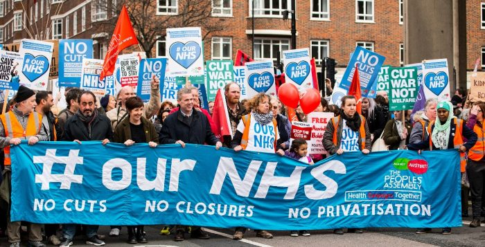 Thousands turn out for the national demonstration in central London, to defend the NHS against government cuts, closures and privatisation.