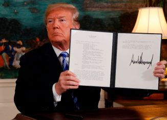 U.S. President Trump announces his decision on the Iran nuclear agreement at the White House in Washington