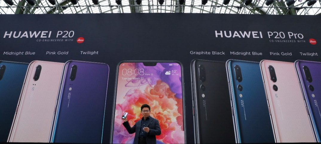Richard Yu, CEO of the Huawei Consumer Business Group, attends the launching the new generation of its smartphone, Huawei P20, in Paris
