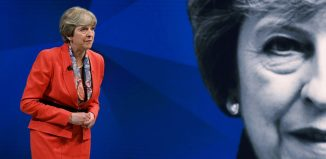 The British Prime Minister Theresa May appears in a program at the Sky Studios, London.