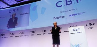 Britains Prime Minister Theresa May addresses the Confederation of British Industrys (CBI) annual conference in London