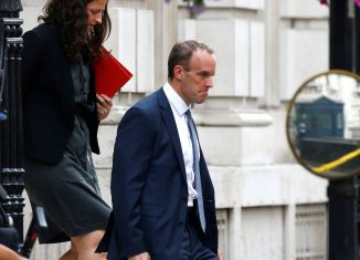 Britains Secretary of State for Exiting the European Union Dominic Raab leaves Downing Street in Westminster London
