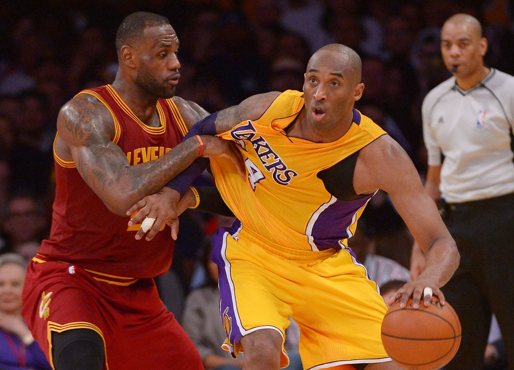 Cleveland Cavaliers forward LeBron James guards Los Angeles Lakers forward Kobe Bryant Mar 10 2016