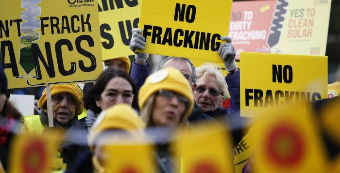 Anti-fracking demonstrators gather on the opening day of the public inquiry into Lancashire County Council's decision to refuse permission for fracking at two sites. REUTERS/Phil Noble